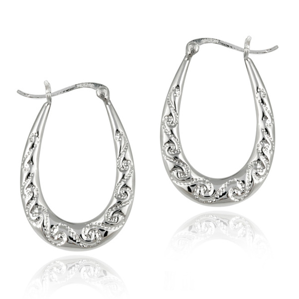 Mondevio Sterling Silver Scroll Design Hoop Earrings