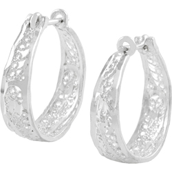 Journee Sterling Silver Filigree Hoop Earrings