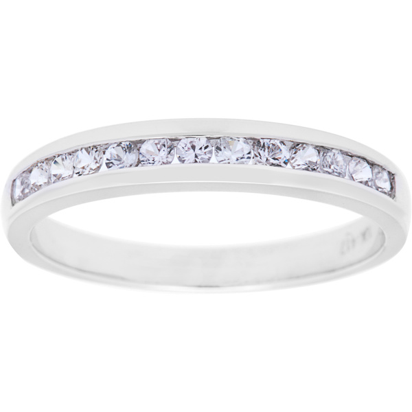 Viducci 10k White Gold Genuine White Sapphire Band