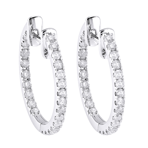 Beverly Hills Charm 10k White Gold 1/2ct TDW Diamond Inside-out Hoop Earrings (H-I, I2-I3)