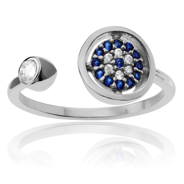 Journee Collection Sterling Silver Cubic Zirconia Evil Eye Open Adjustable Ring
