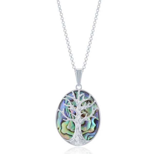 La Preciosa Sterling Silver Abalone Tree of Life Oval Necklace