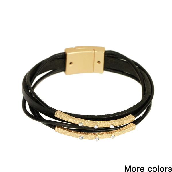 Saachi Embellished Bar Multi Strand Leather Bracelet (China)