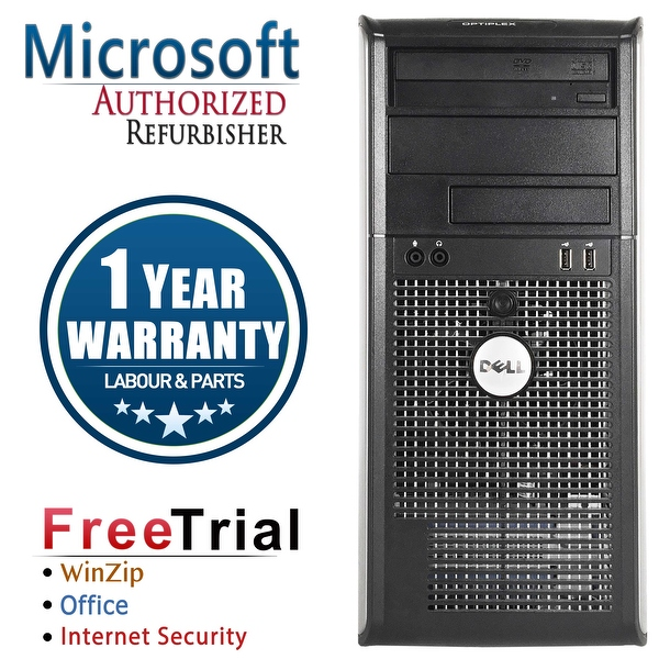 Refurbished Dell OptiPlex 760 Tower Intel Core 2 Duo E7600 3.0G 4G DDR2 250G DVD Win 7 Home 64 Bits 1 Year Warranty - Silver