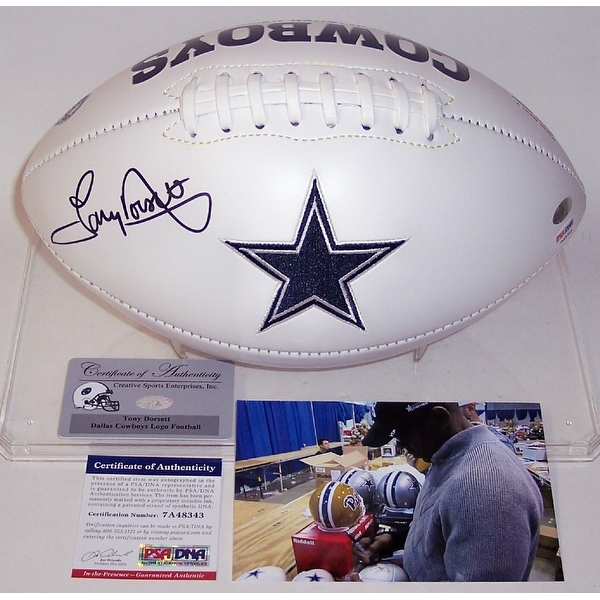Tony Dorsett Autographed Hand Signed Dallas Cowboys Full Size Logo Football - PSA/DNA