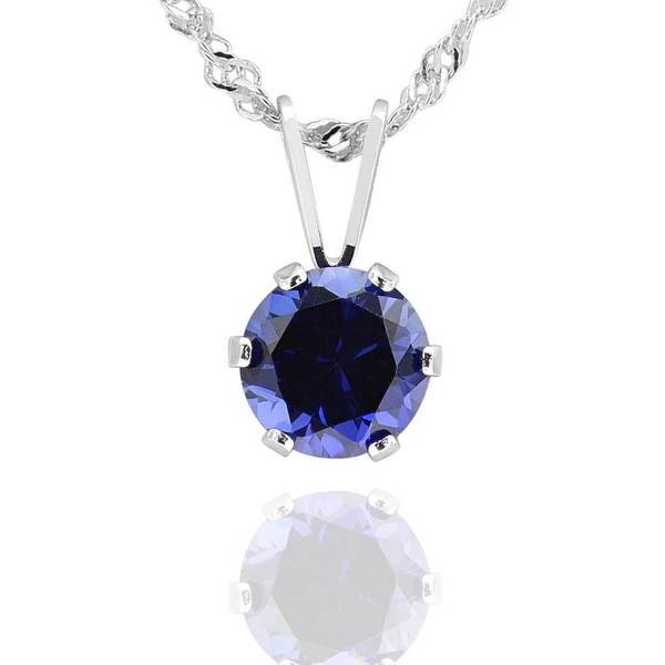 Sterling Silver 6mm Round Created Blue Sapphire Solitaire Pendant Necklace (China)