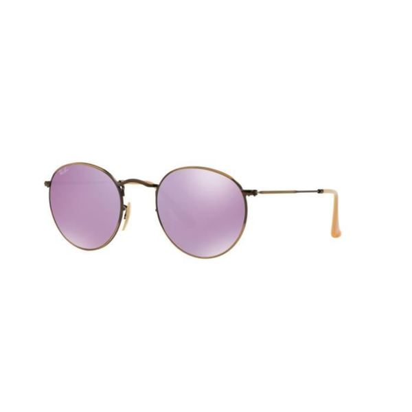 Ray-Ban RB3447 Round Flash Lilac Mirror Lenses Sunglasses