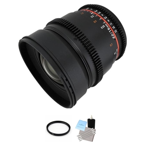 Rokinon 16mm T2.2 Cine Lens for Canon EF + UV Filter & Cleaning Kit Bundle