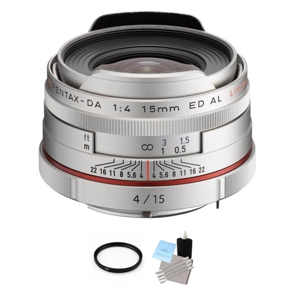 Pentax HD DA 15mm f/4 ED AL Limited Lens - Silver + UV Filter & Cleaning Bundle