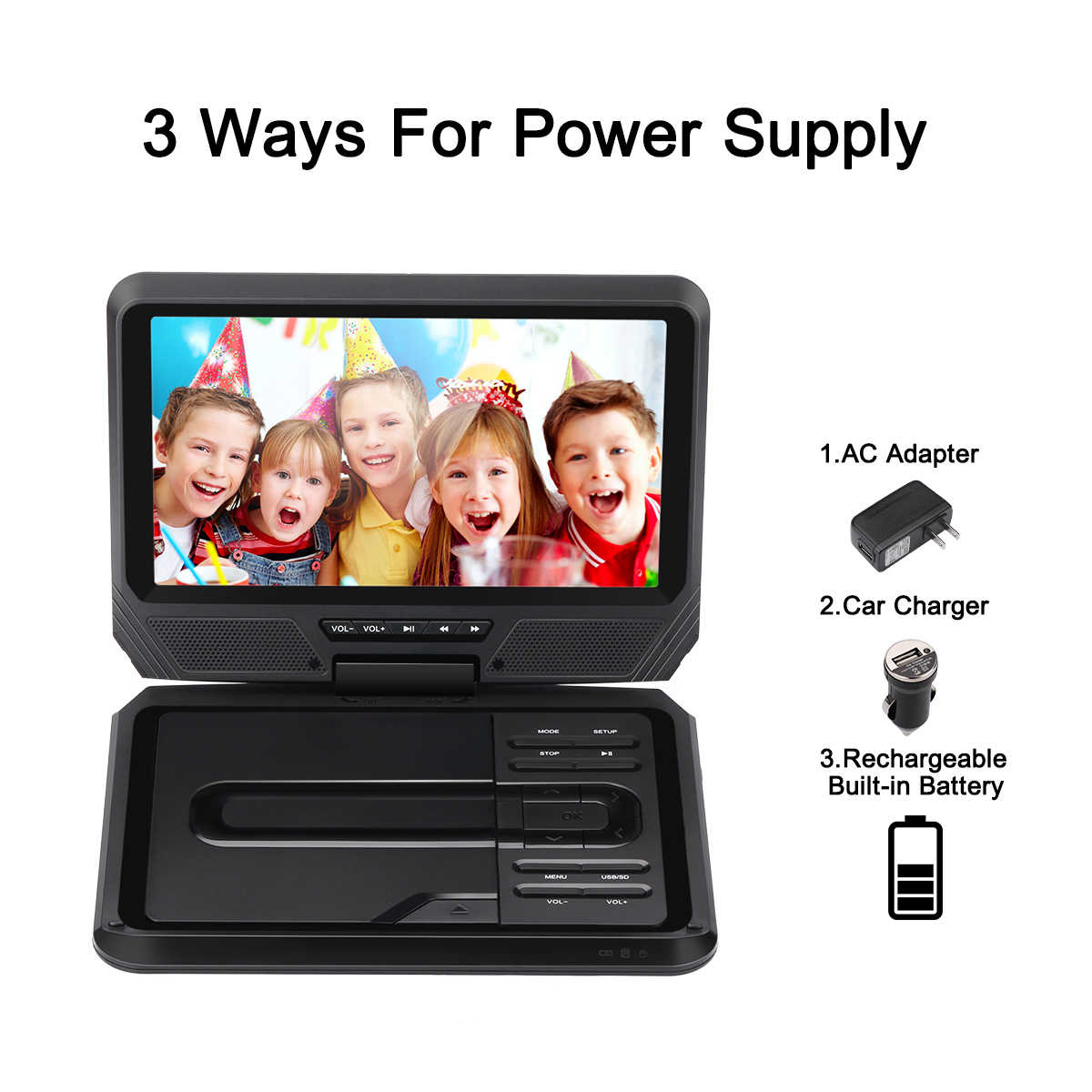 Excelvan 9' Portable DVD Player with Swivel Screen, Built-in Rechargeable Battery SD Card and USB Supported Direct Play in Formats AVI/RMVB/MP3/JPEG