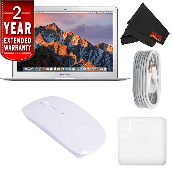 Apple 13.3' MacBook Air 128GB SSD #MQD32LL/A (Newest Version) With 2 Year Extended Warranty Starter Bundle